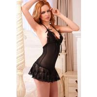 Black Sheer Babydoll Set